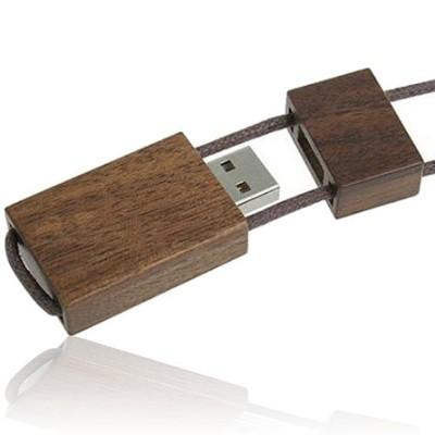 Wooden USB Flash Drive With Sliding Cord Lanyard | Executive Corporate Gifts Singapore
