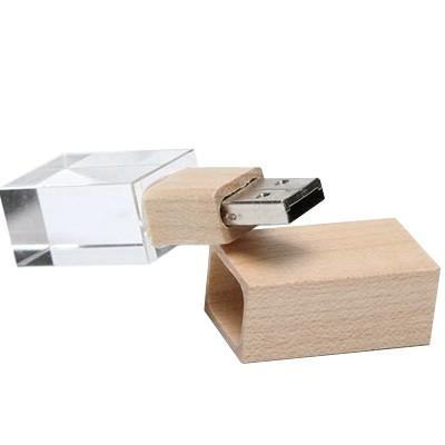 Wooden Crystal USB Drive with LED Light USB | Executive Corporate Gifts Singapore