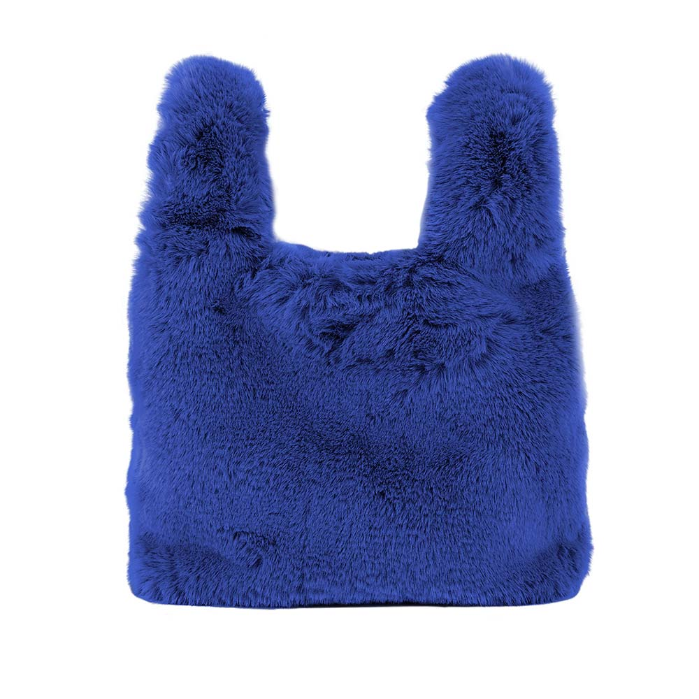 4ALL Borsa in pelliccia Silla blu