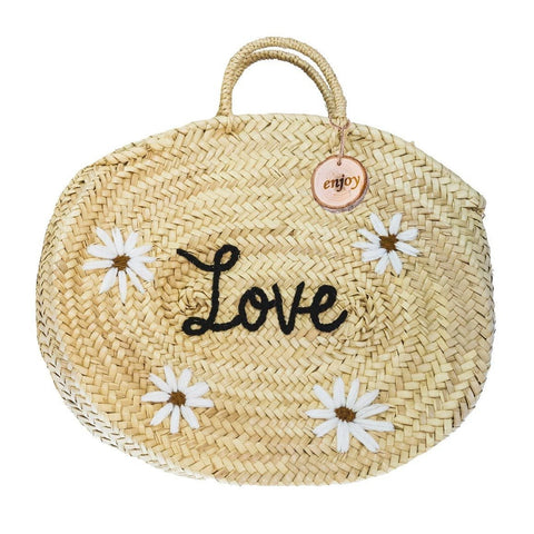 4ALL Borsa in paglia con margherite Love