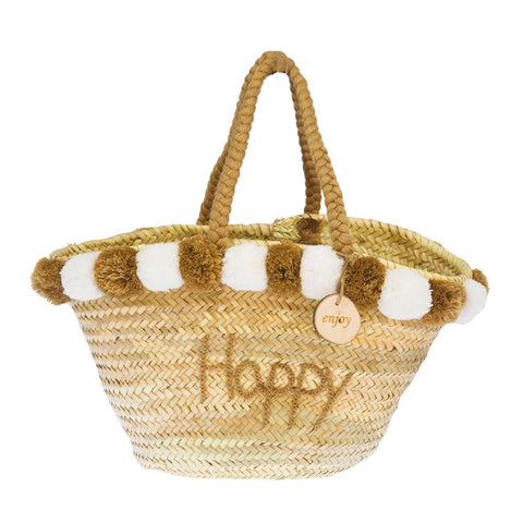 4ALL Borsa in paglia con pon pom Happy