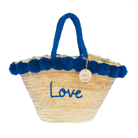 4ALL Borsa in paglia con pon pom Love