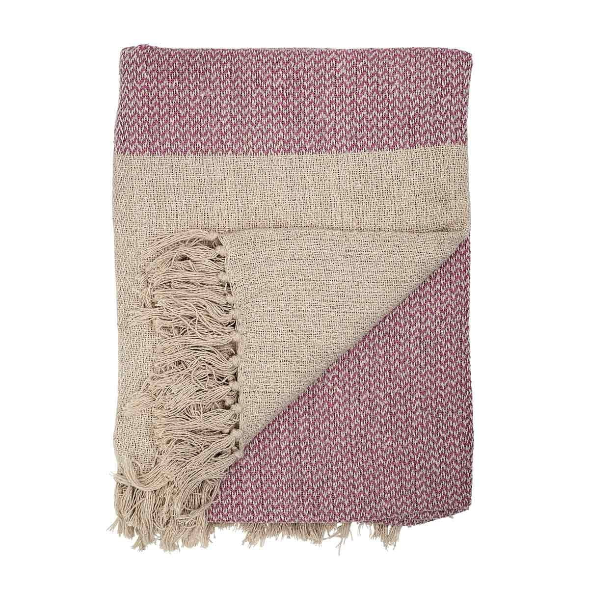 Coperta plaid Bloomingville in cotone rosa
