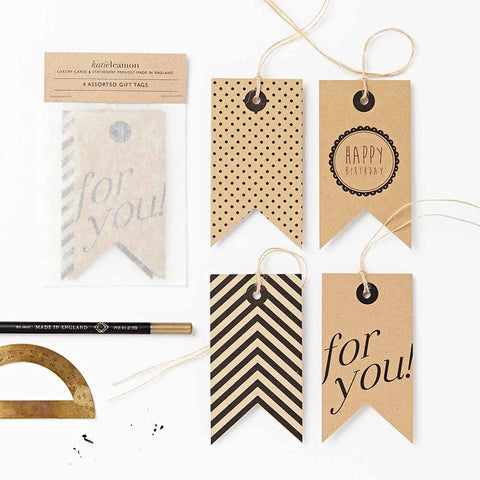 Set di 4 tags Katie Leamon in carta kraft
