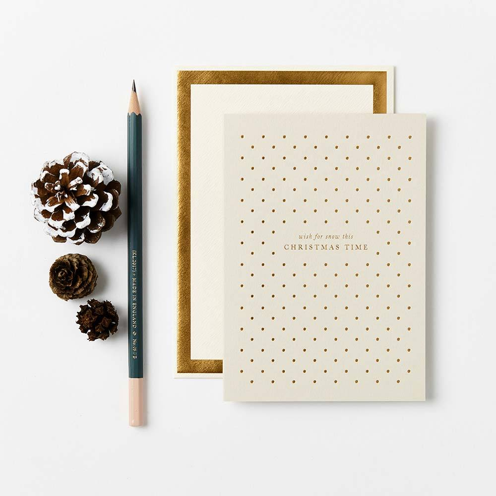 Katie Leamon Biglietto d'auguri Wish for Snow con pois dorati