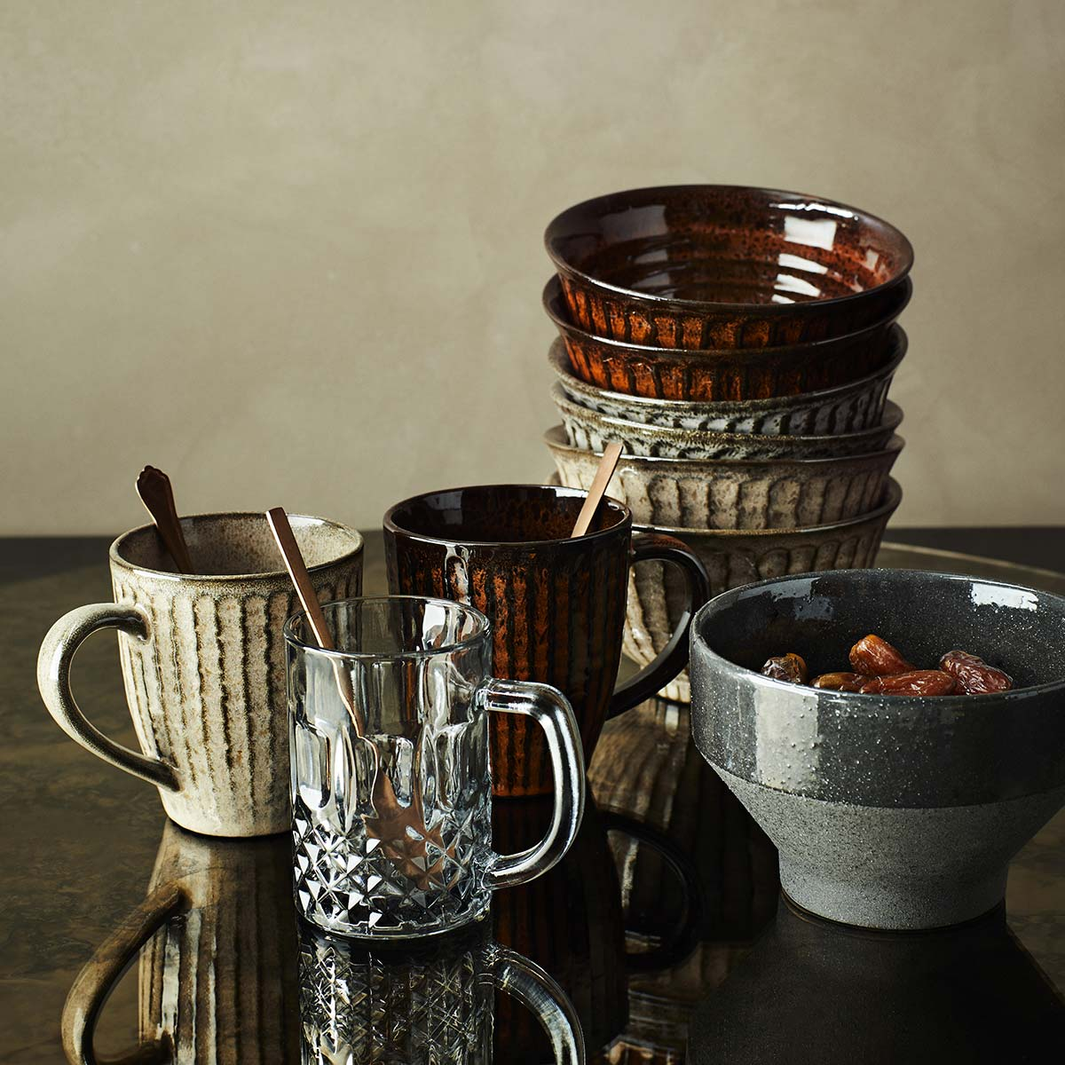Madam Stoltz Tazza in Ceramica Deep Ground