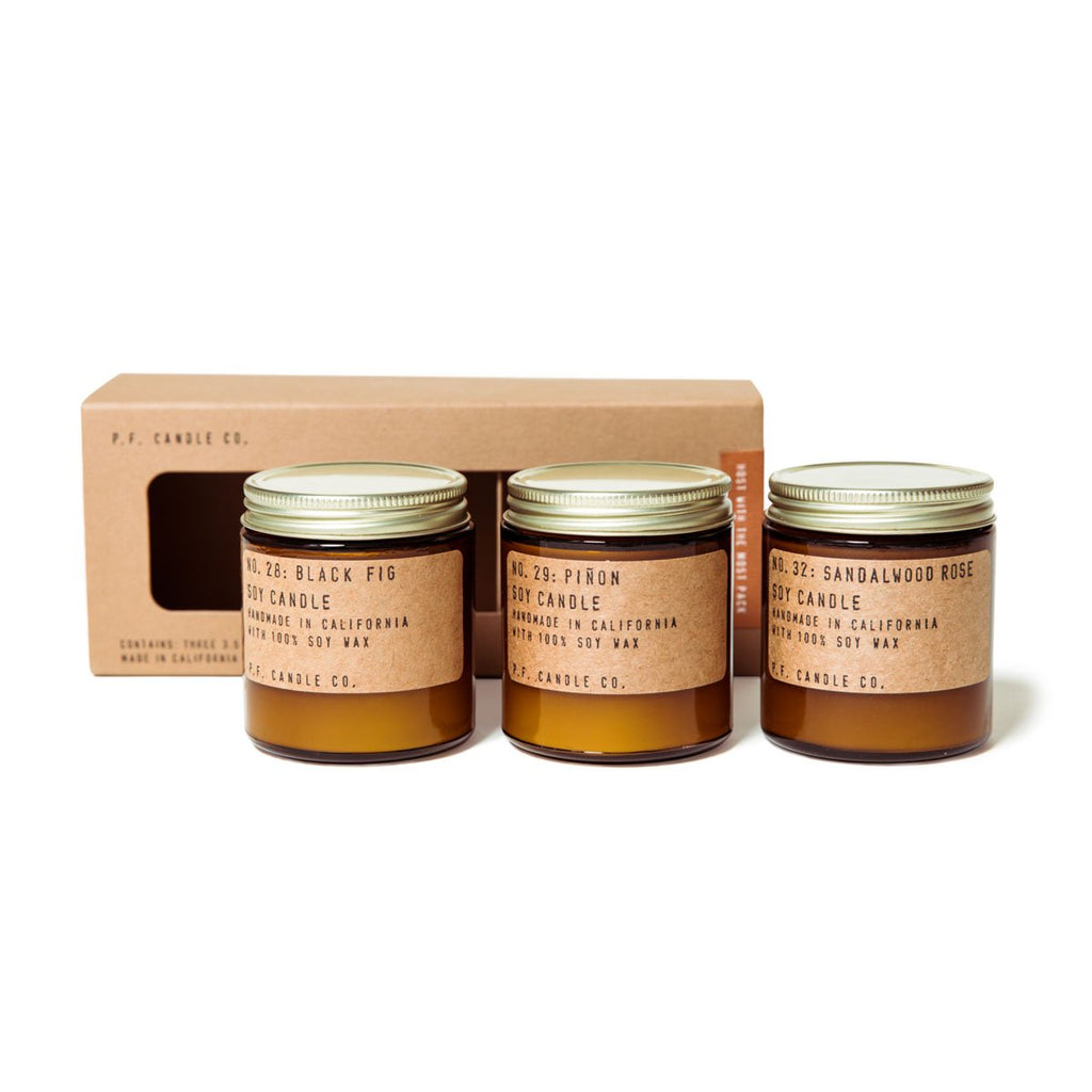P.F. Candle Co. Cofanetto 3 Candele di Soia Mini Host With The Most