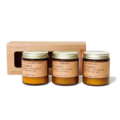 P.F. Candle Co. Cofanetto 3 Candele di Soia Mini Sunshine