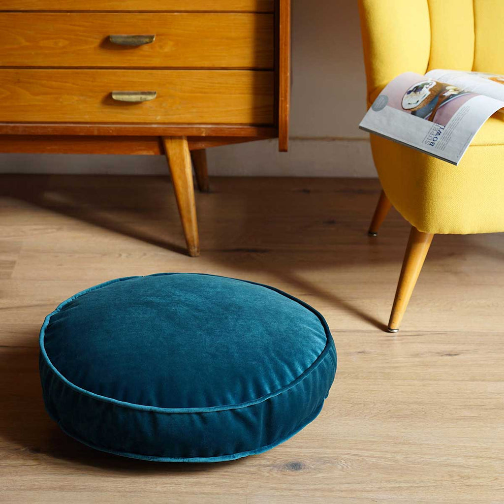 Pouf in Velluto Turchese