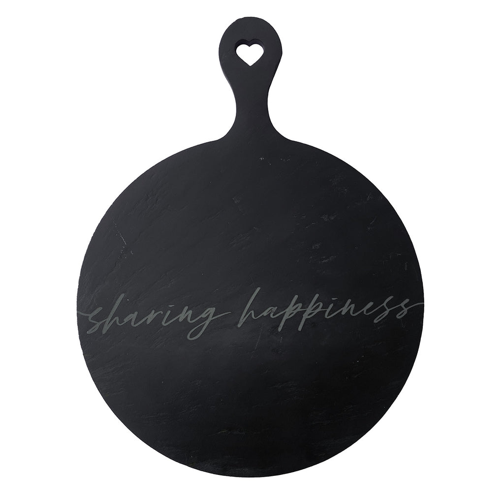 "Tagliere in ardesia rotondo ""Sharing happiness"""
