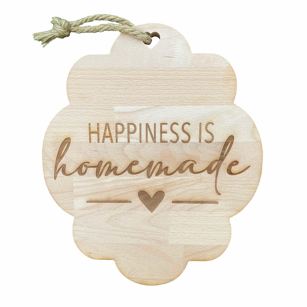 "Tagliere in legno ""Happiness is Homemade"""