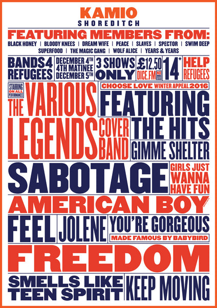 Bands4Refugees A3 Poster Print