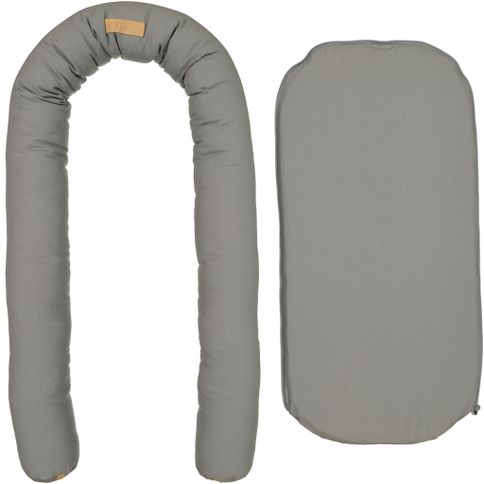 Hildestad Copenhagen - Baby Nest Organic Cotton Grey with Tan leather detail. Danish baby sleep nest in ireland Organic