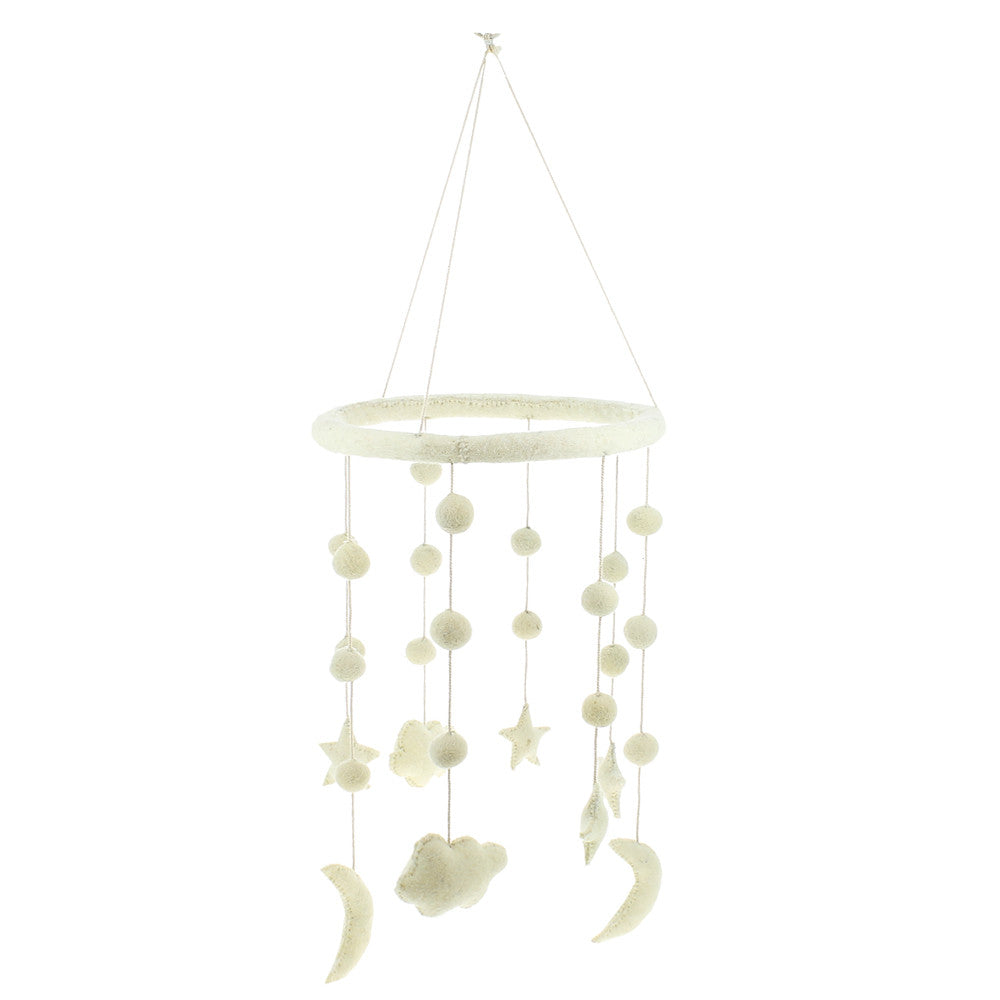Fiona Walker Cloud Moon and Star Mobile Beautiful white nursery piece.