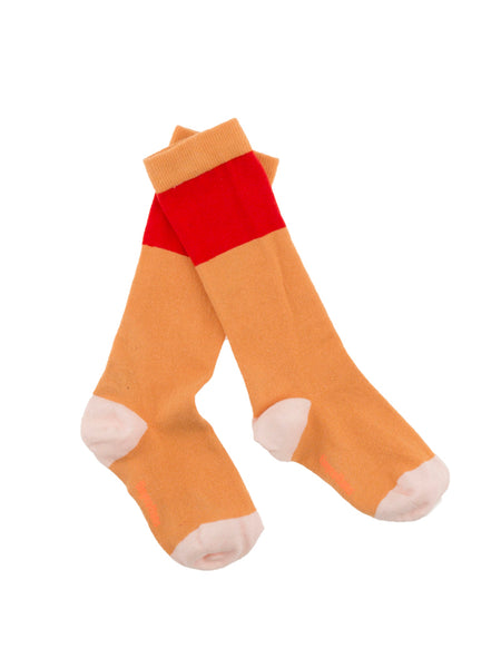 Tiny Cottons - Colour Block knee high socks red/nude