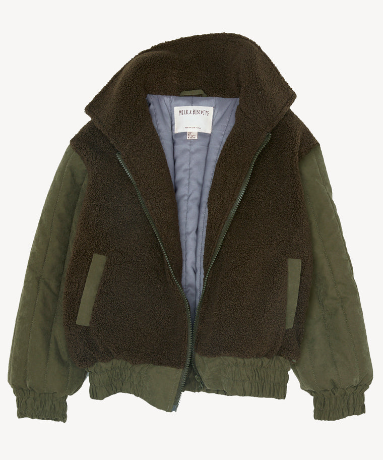 Army Green Padded Bomber Jacket