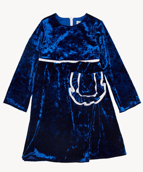 Milk and Biscuits is a brand that mixes the beautiful worlds of English heritage with vibrant Chinese culture. It's edgy and fun but it's wholesome too with a nod to retro.  This electric blue velvet dress is a real show stopper. It's fun and the large ruffled patch pocket takes this shimmery number to the next level.  It will be loved by any little lady. ireland