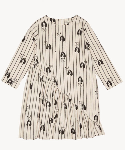 Milk and biscuit Asymmetric long sleeve monochrome dress with quirky cat and dog print.