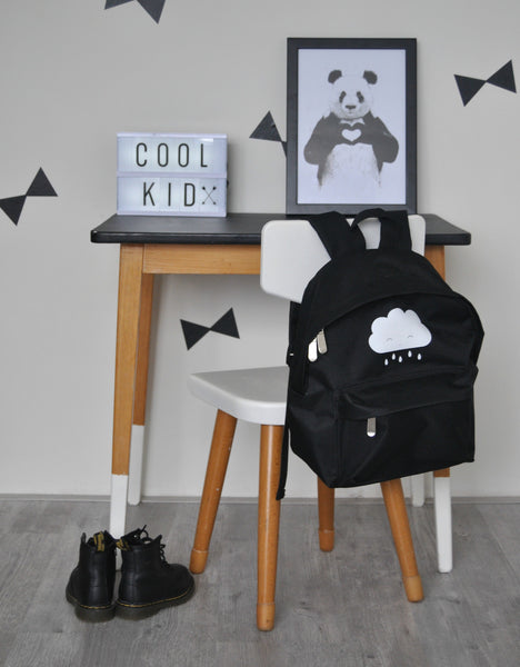 Black kids back pack with cute white rain cloud by A lovely Little company. school bag monochrome