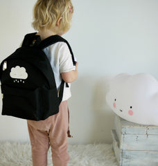 Black kids back pack with cute white rain cloud by A lovely Little company.
