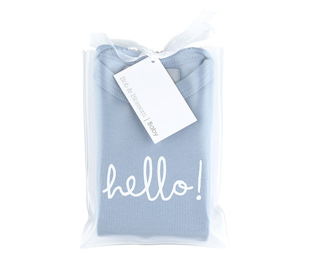 hello grey baby tshirt by bob and blossom