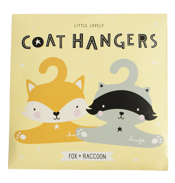 Fox/Racoon stylish hanger set for children. A lovely Little Company available in Ireland