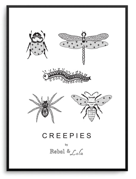 "Rebel & Lola - ""Creepies"" Wall Print Monochrome"