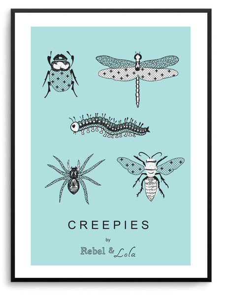 "Rebel & Lola - ""Creepies"" Wall Print Teal"