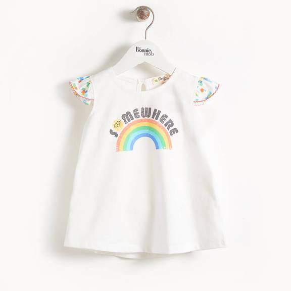 Rainbow Dress will Frill Sleeves