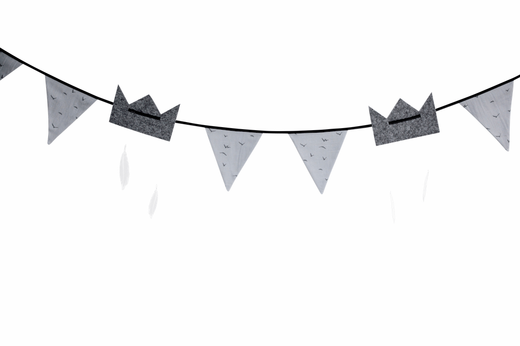 Grey garland, for babies room or nursery, bunting with Crowns