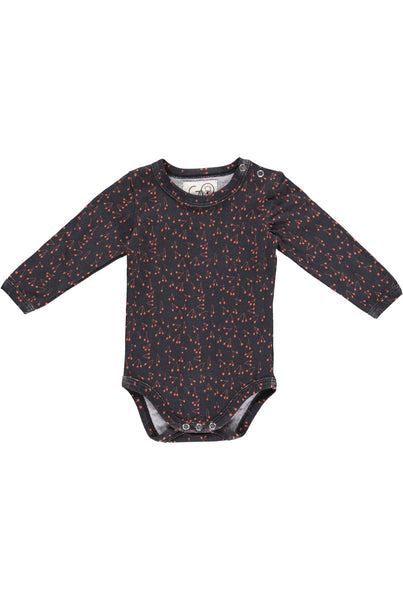 This beautifully illustrated baby vest is soft and comfortable and perfect for babies to move freely in.   Rich tones of dark navy with rusty cherry illustrations.