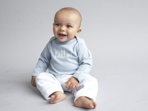 hello grey baby tshirt by bob and blossom ireland