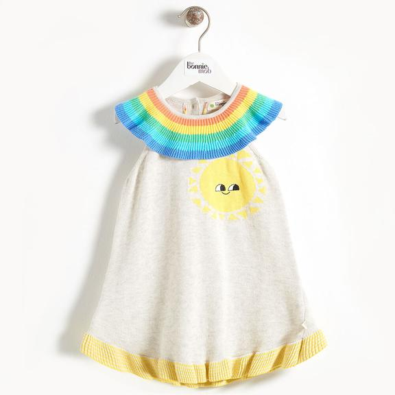 Knit Sunshine dress with Rainbow Collar