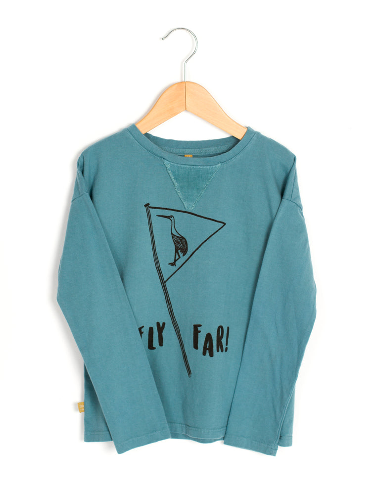 Long Sleeved Tee Whale Blue - Organic Cotton