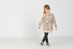 Wonderfully soft dusty pink organic cotton sweatshirt dress with rain fall illustration. Perfect with tights or leggings and boots.  Designed and made in Barcelona lötiekids