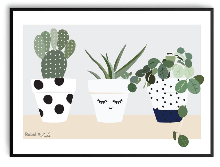 Rebel & Lola - Pots of Love Print A3