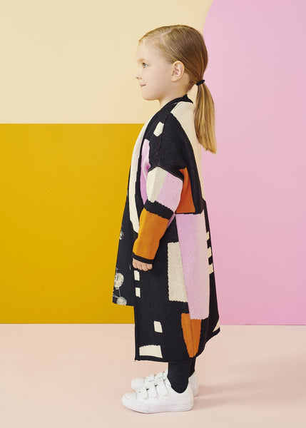 Papu travel cardigan geometric ss19 multicoloured organic cotton quality kids clothing.