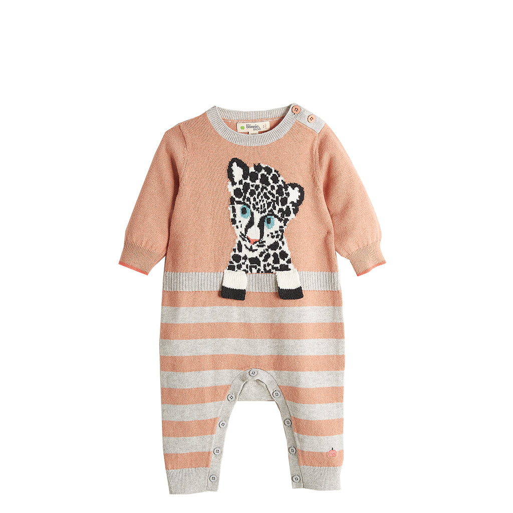 A truly luxurious baby knit play suit in cotton and cashmere, with baby leopard and stripes.  The perfect new baby gift.   Available in sizes 0-3mts, 3-6mts, 6-12mts, 12-18ts