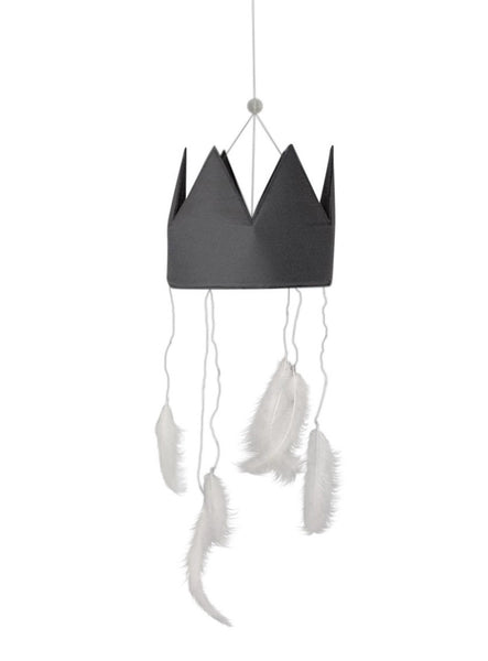Danish minimal croon nd feather mobile for stylish bedrooms and nurseries. Petit by V salingers Little