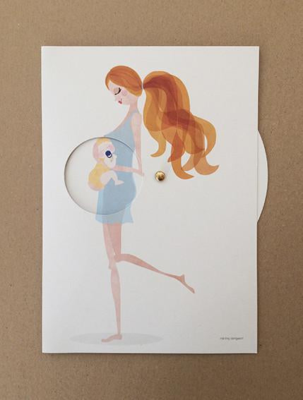 A5 offset printed on 400g silk paper Pregnancy wheel Mie Frey Pregnancy reveal card Danish design