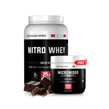 BUY ANY SIZE NITRO WHEY AND GET A FREE MICRONISED GLUTAMINE 150G (UNFLAVOURED)