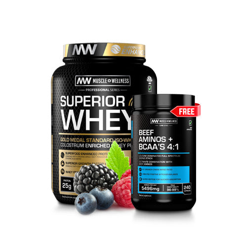 BUY A 3.2kg SUPERIOR WHEY GF AND GET A BEEF AMINO + BCAA 240 CAPSULE FREE
