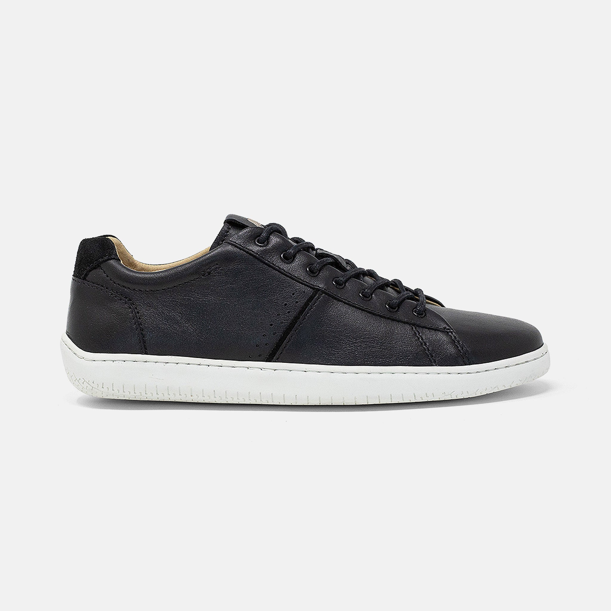 Women's black leather Spark sneaker, with white cupsole, lateral view
