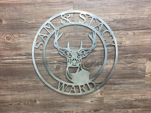 Deer with Name Cirlce (Personalized), Home Decor, Wall Art, Unpainted