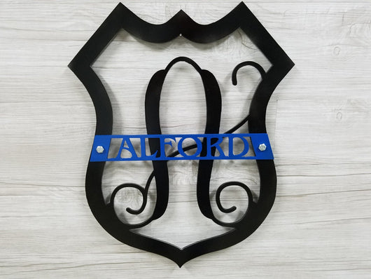 Police Badge Monogrammed With Name (Home Decor, Wall Art, Metal Art, {Can Be Personalized})