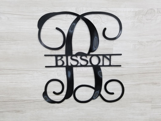 Monogram Letter & Name Striked Thru Center