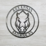Arkansas Razorback Circle W/Razorback Face (Home Decor, Football, Sports, Wall Art, Metal Art)
