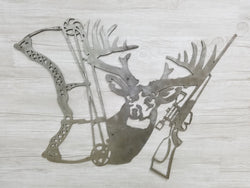Deer Head With Bow & Rifle