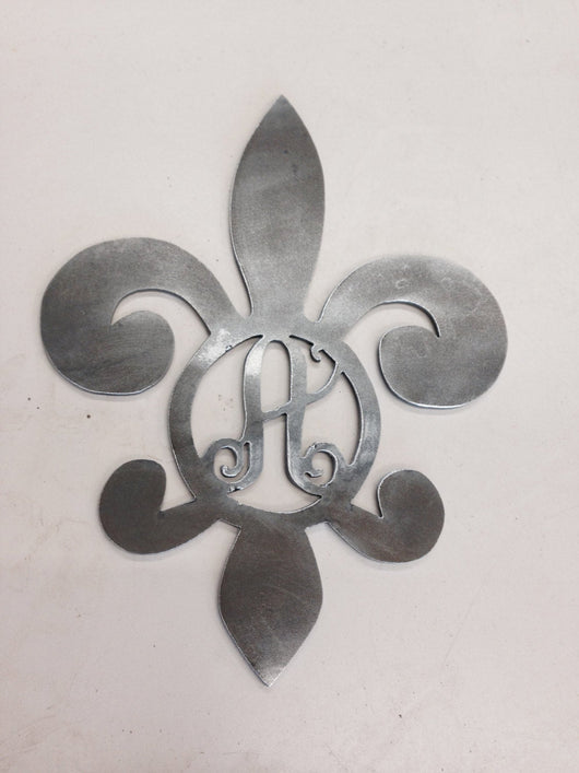Fleur De Lis With Monogram Letter (Home Decor, Wall Art, Metal Art, {Can Be Personalized})