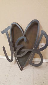 Heart With Monogram Initials Sign 3D